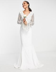 Белое платье с длинными рукавами и кружевом Virgos Lounge Bridal-Белый
