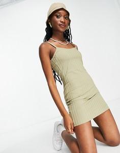 Платье мини цвета хаки в рубчик на бретельках Miss Selfridge-Зеленый цвет