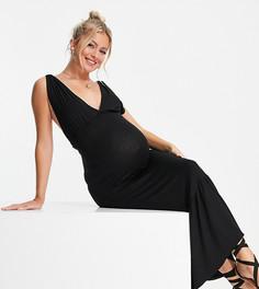 Черное платье миди без рукавов Pieces Maternity-Черный цвет