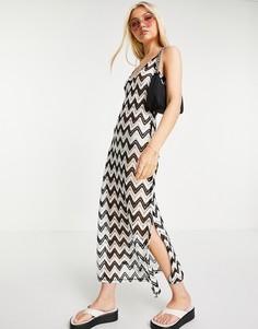 Платье макси на бретельках кремового цвета с черным переплетением вязки «кроше» ASOS DESIGN-Multi