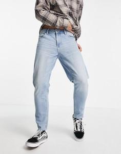 Голубые джинсы с необработанными краями ASOS DESIGN-Голубой