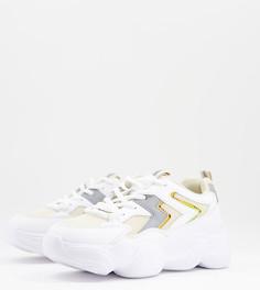 Кроссовки белого и бежевого цветов для широкой стопы на массивной подошве Truffle Collection-Белый