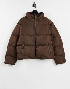Укороченный пуховик коричневого цвета ASOS DESIGN-Коричневый цвет