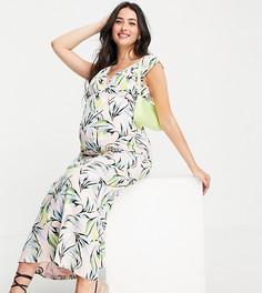 Платье макси из органического хлопка для кормления с принтом пальмовых листьев Mamalicious Maternity-Multi Mama.Licious