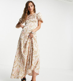 Платье макси с розовым цветочным принтом и декоративной отделкой пайетками Reclaimed Vintage Inspired-Розовый цвет