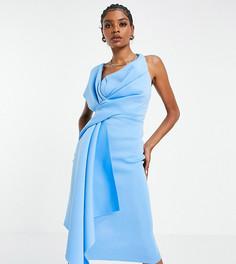 Голубое платье-футляр миди с открытым плечом ASOS DESIGN Tall-Multi