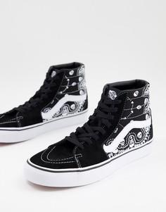 Черные кроссовки с принтом банданы Vans SK8-Hi-Белый