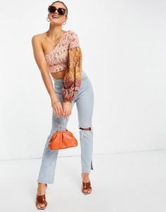 Оранжевый пляжный топ на одно плечо с цветочным принтом (от комплекта) River Island-Оранжевый цвет