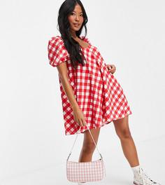 Фактурное платье мини с пышными рукавами в клетку красного цвета ASOS DESIGN Petite-Красный