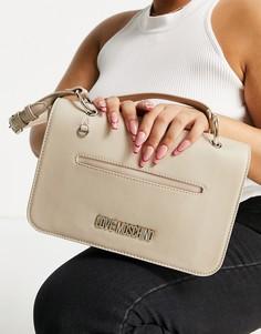 Бежевая сумка на плечо с цепочкой Love Moschino-Розовый цвет