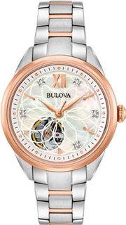 Японские наручные женские часы Bulova 98P170. Коллекция Automatic Ladies