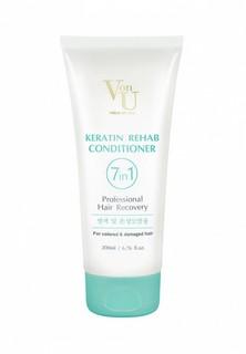 Кондиционер для волос Von U 7 в 1 для окрашенных и повреждённых волос с кератином Keratin Rehab, 200 мл