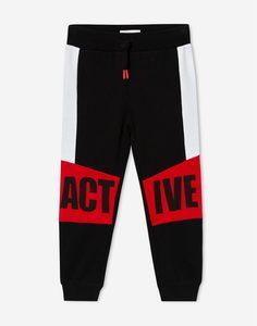 Чёрные брюки колор-блок с принтом Active для мальчика Gloria Jeans