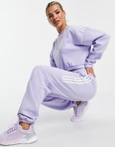 Сиреневые джоггеры в стиле oversized с тремя полосками adidas Training-Фиолетовый цвет