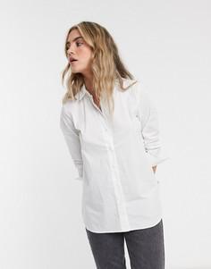 Белая рубашка из смесового органического хлопка с молнией сбоку Selected Femme-Белый
