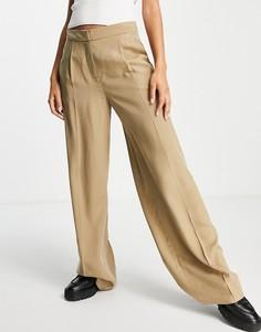 Светло-коричневые строгие брюки с широкими штанинами Selected Femme-Коричневый цвет