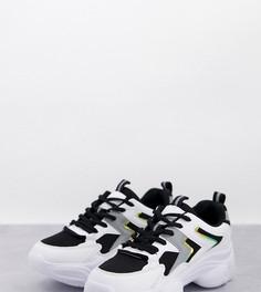Кроссовки белого и черного цветов для широкой стопы на массивной подошве Truffle Collection-Белый