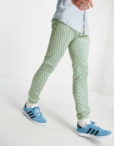 Зауженные джоггеры в строгом стиле с геометрическим принтом в пастельных тонах (от комплекта) ASOS DESIGN-Голубой