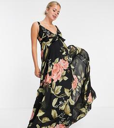 Платье макси на бретелях с запахом, ремешками на спине и крупным цветочным принтом ASOS DESIGN Maternity-Черный цвет