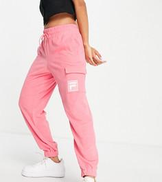 Розовые махровые джоггеры с карманом Fila-Розовый цвет