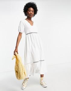 Белое платье миди с V-образным вырезом отделкой из вязанных крючком кружев ASOS DESIGN-Multi
