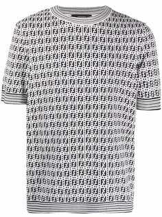 Fendi футболка вязки интарсия с логотипом