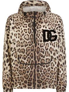 Dolce & Gabbana куртка с леопардовым принтом и нашивкой-логотипом DG