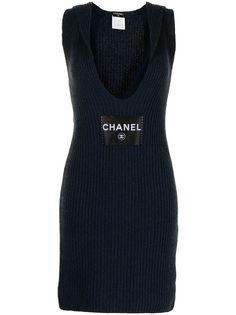 Chanel Pre-Owned трикотажное платье 2008-го года с глубоким вырезом