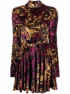 Versace Jeans Couture платье в клетку тартан с принтом Baroque