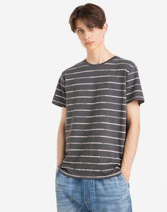 Серая футболка в полоску Gloria Jeans