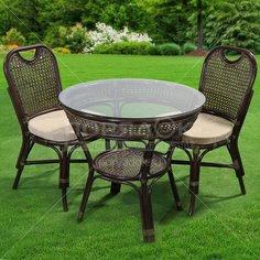 Мебель садовая Costa Brava натуральный ротанг IND09 (стол 81х76 см + 2 стула)