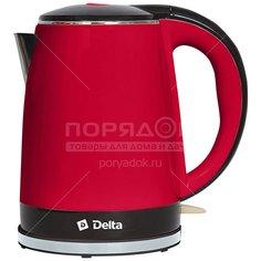 Чайник электрический пластиковый Delta DL-1370 красно-черный, 1.8 л, 2.2 кВт Дельта