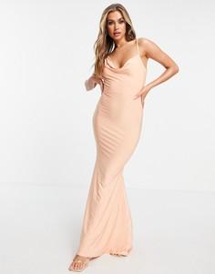 Платье макси абрикосового цвета косого кроя со свободным воротом Club L London-Оранжевый цвет