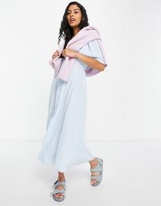 Чайное платье миди в клетку голубого цвета, на пуговицах, с завязкой на спине и короткими расклешенными рукавами ASOS DESIGN-Multi
