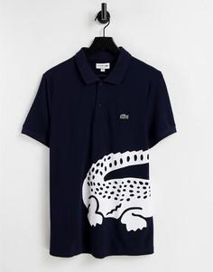 Футболка-поло с крупным логотипом в виде крокодила Lacoste-Голубой