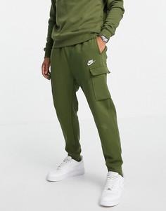 Флисовые джоггеры карго цвета хаки Nike Club-Зеленый цвет