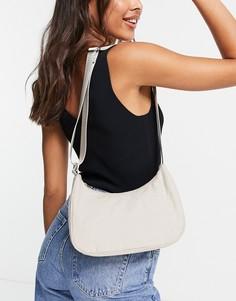 Бежевая льняная сумка на плечо Weekday Zarri-Светло-бежевый цвет