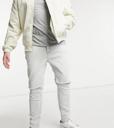 Серые зауженные джинсы с рваной отделкой из смесового органического хлопка Topman Big & Tall-Серый