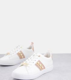 Нежно-розовые кроссовки для широкой стопы с отделкой из искусственного жемчуга Miss KG-Светло-бежевый цвет