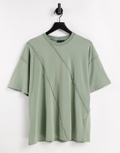 Oversized-футболка цвета хаки с наружными швами ASOS DESIGN-Зеленый цвет