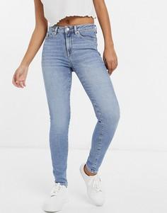 Голубые выбеленные джинсы скинни из смесового органического хлопка Selected Femme Sophia-Голубой