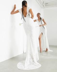 Кружевное свадебное платье с короткими рукавами и шлейфом ASOS EDITION Madeline-Белый