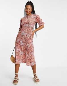 Чайное платье миди с мелким цветочным принтом Influence-Разноцветный