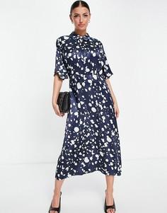 Синее платье миди с принтом белого цвета Selected Femme-Многоцветный