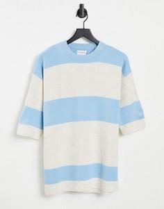 Трикотажная футболка в полоску синего и белого цветов Topman-Голубой