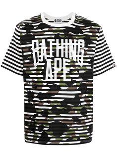 A BATHING APE® полосатая футболка с камуфляжным принтом Bape