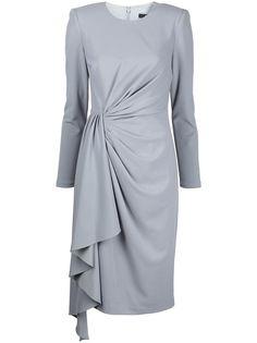 Badgley Mischka платье с запахом и драпировкой