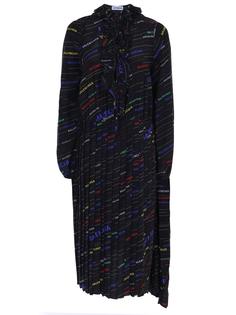 Платье шелковое с принтом Balenciaga