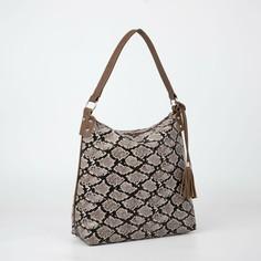 Сумка-мешок, отдел на молнии, наружный карман, анималистичный принт, цвет коричневый Textura