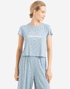 Голубая пижамная футболка с принтом YOUTH FOREVER Gloria Jeans